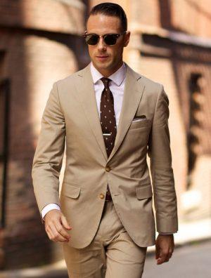 Aó vest nam màu nâu nhạt, phong cách châu âu